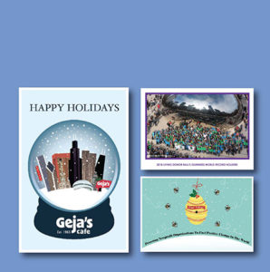 Geja's Cafe Holiday Card Example