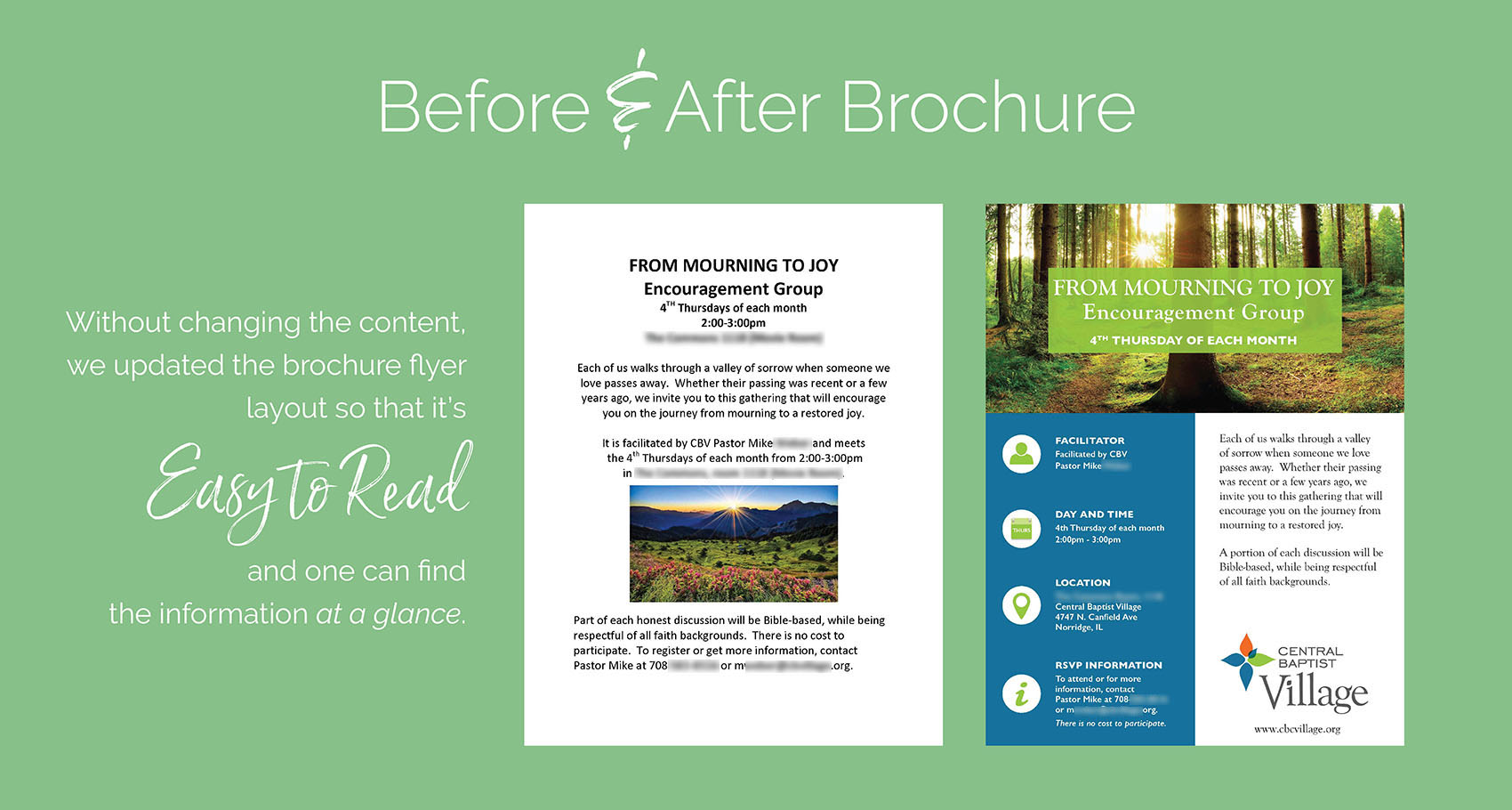 Before & After Brochure Design for Central Baptist Village