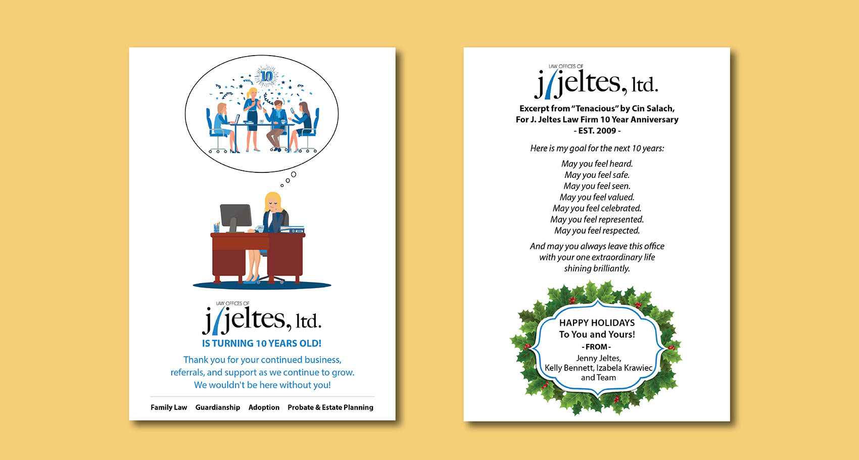 J. Jeltes 10 Year Anniversary Card Design