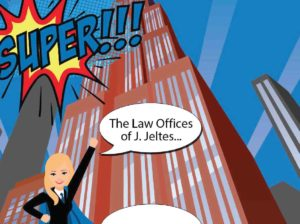 Cartoon Vector of Superwoman at J. Jeltes Law Office