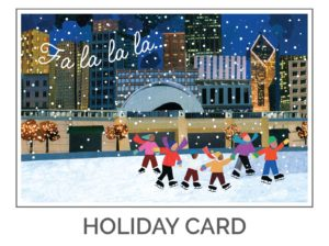 Chicago Holiday Card Design of Ice Skaters