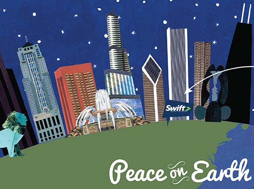 Close Up of Peace on Earth Personalized Holiday Card Design