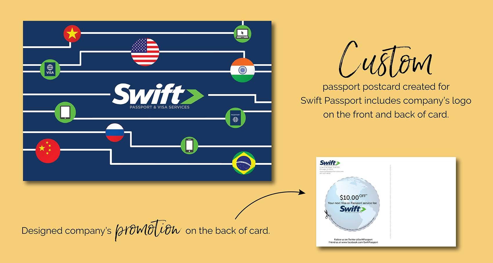 Swift Passport Custom Holiday Postcard Design by Eclectik Design