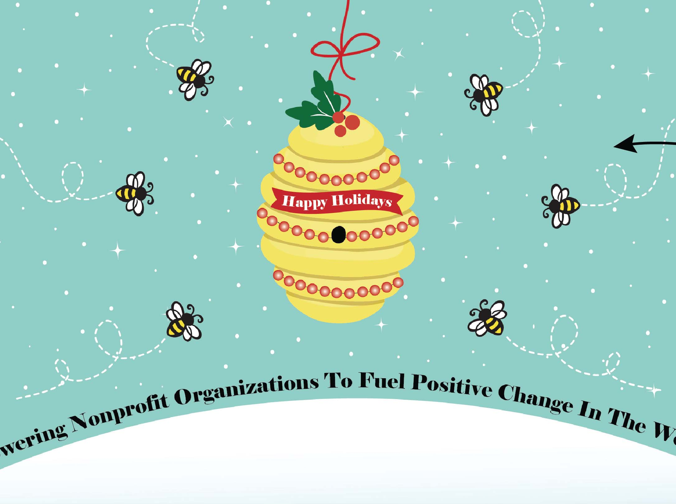 Close Up of 2016 Charity Holiday Card Design of Bees