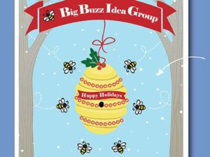 Close Up of Big Buzz Charity Holiday Card Design