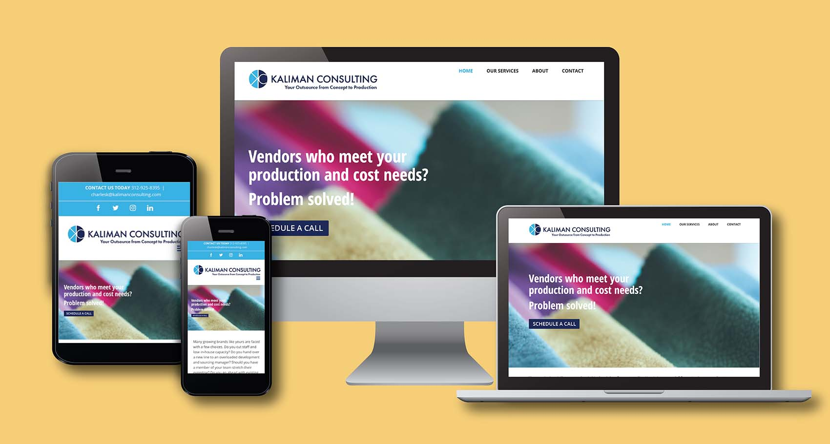 Kaliman Consulting Website Design on Multiple Devices