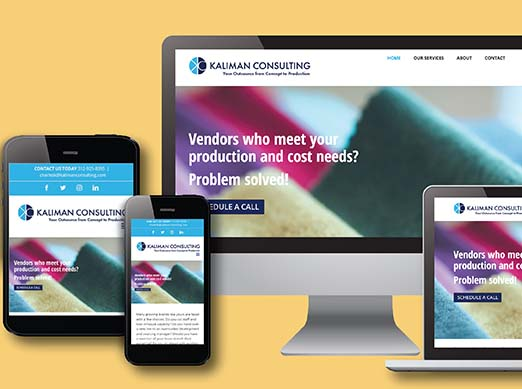 Close Up of Kaliman Consulting Website Design on Multiple Devices