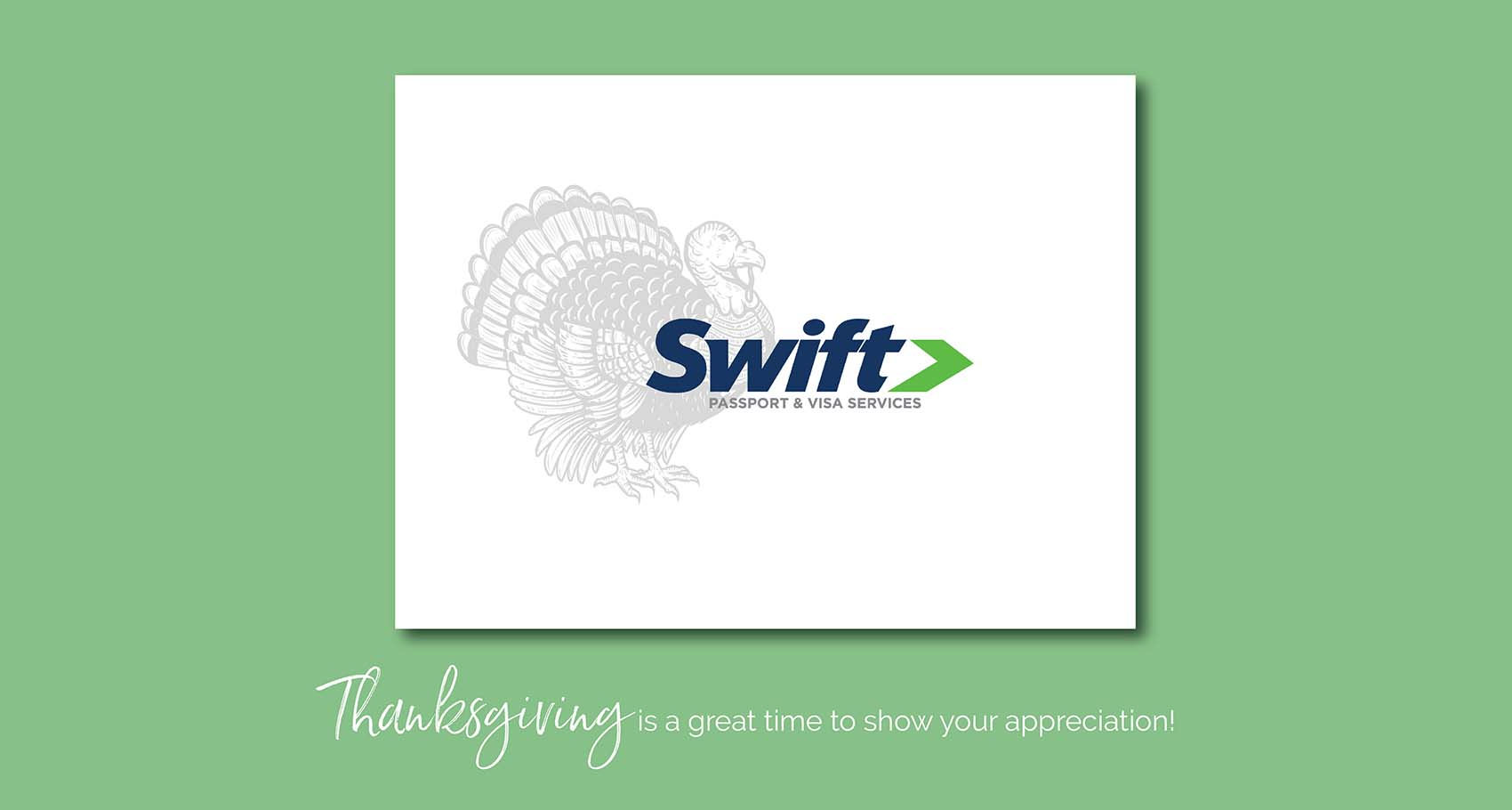 Swift Passport & Visa Services Thanksgiving Holiday Card Design