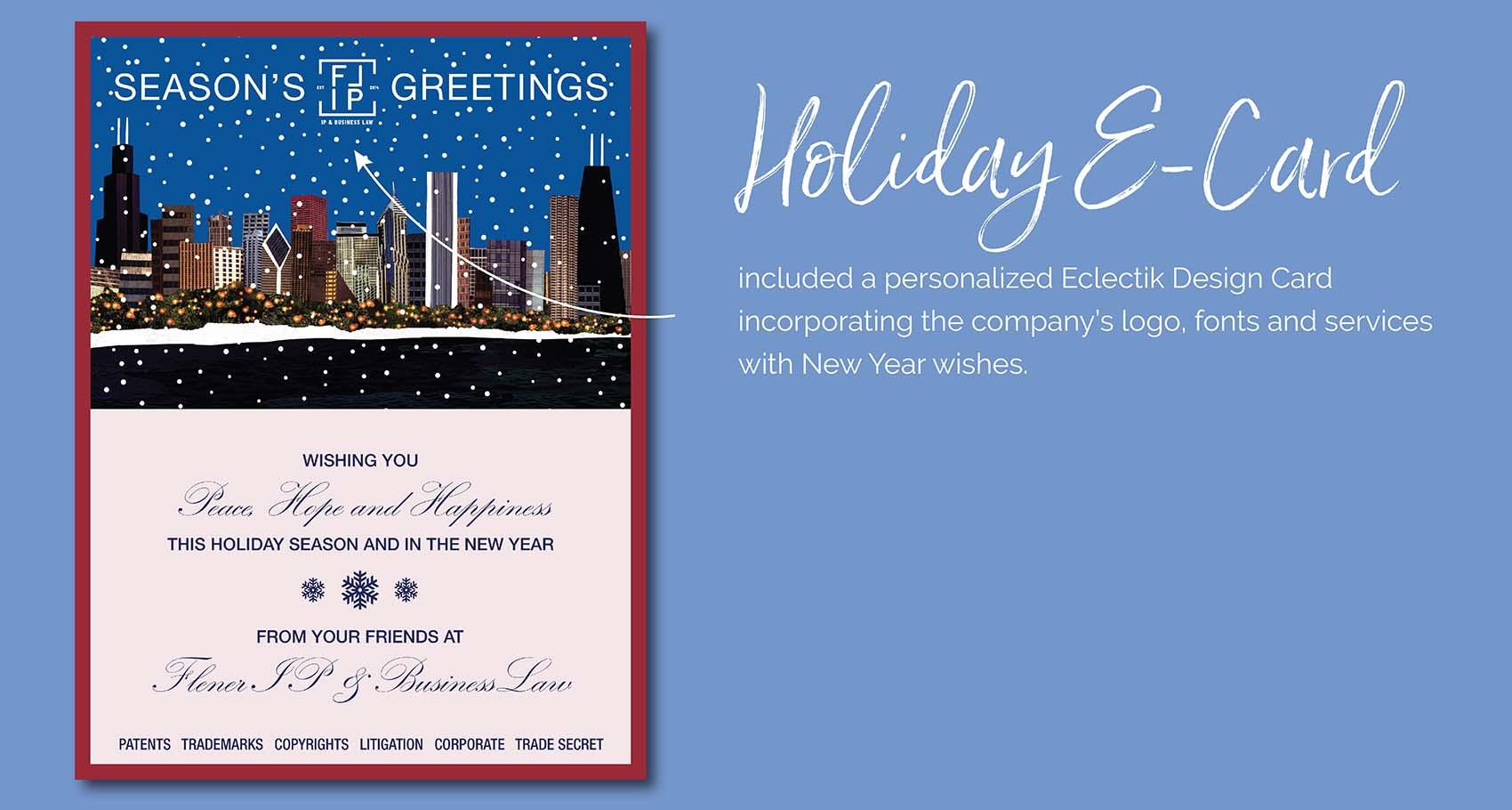 Holiday E-Card Design With Company Logo